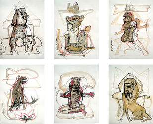 Untitled by Anjan Das, Conceptual, Conceptual Painting, Mixed Media on Paper, Beige color