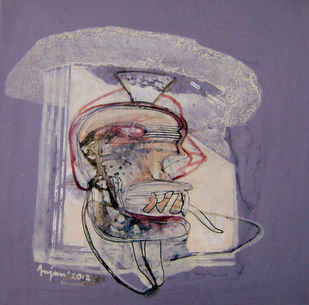 Head by Anjan Das, Minimalism, Minimalism Painting, Mixed Media on Canvas, Brown color