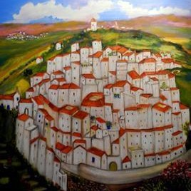 White Village in Andalusia by Sipra Datta Gupta, Decorative, Decorative , Oil on Canvas, Brown color