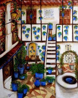 Patios of Cordoba by Sipra Datta Gupta, Decorative, Decorative , Oil on Canvas, Brown color