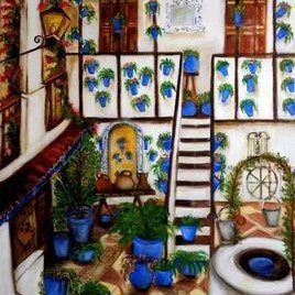 Patios of Cordoba by Sipra Datta Gupta, Decorative, Decorative , Oil on Canvas, Brown color