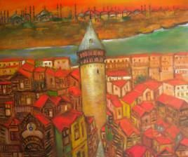 Wooden Houses of Istanbul by Sipra Datta Gupta, Decorative, Decorative , Oil on Canvas, Brown color