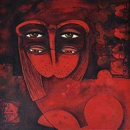 Imprints Of Subconscious 073 by Shashikant Rewade, Decorative, Decorative Painting, Acrylic on Canvas, Brown color
