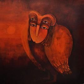 Imprints Of Subconscious 076 by Shashikant Rewade, Decorative, Decorative Painting, Acrylic on Canvas, Brown color