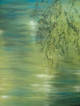 Branches and Water III by Animesh Roy, Impressionism, Impressionism Painting, Oil on Canvas, Green color