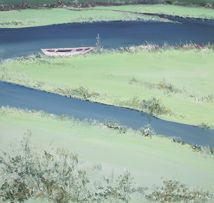 River Banks and A Boat by Animesh Roy, Impressionism, Impressionism , Oil on Canvas, Cyan color