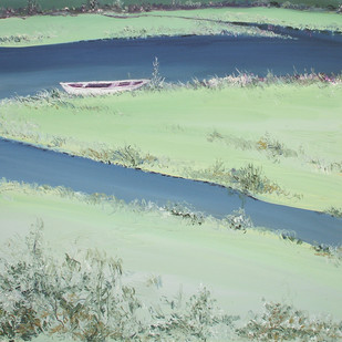 River Banks and A Boat by Animesh Roy, Impressionism, Impressionism Painting, Oil on Canvas, Cyan color