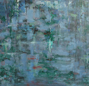 Waterscape 3 by Animesh Roy, Impressionism, Impressionism Painting, Acrylic on Canvas, Green color