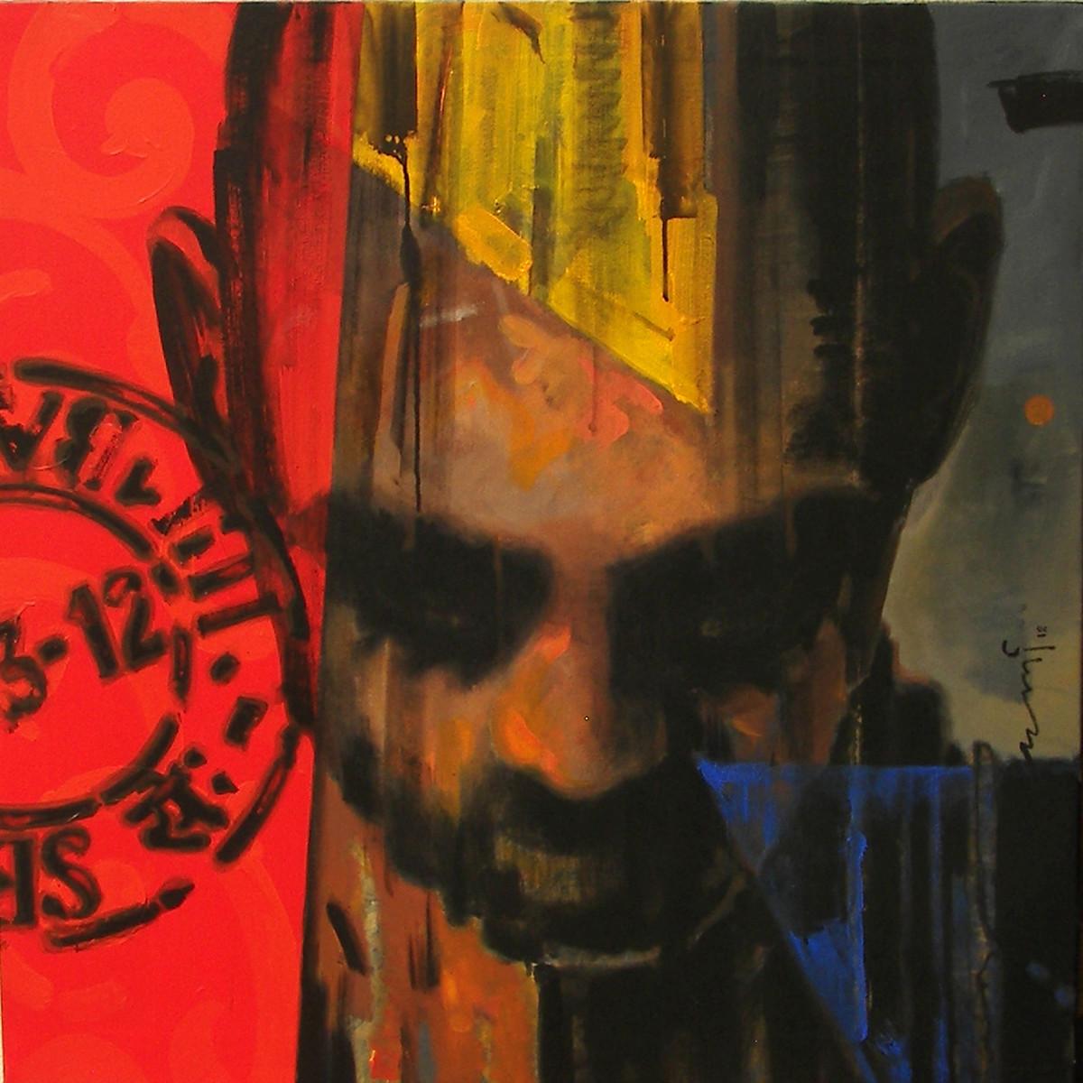 Stamp 159 by Devidas Dharmadhikari, Pop Art, Pop Art Painting, Acrylic on Canvas, Brown color