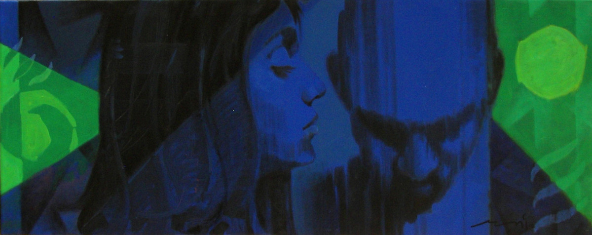 Stamp 182 by Devidas Dharmadhikari, Pop Art, Pop Art Painting, Acrylic on Canvas, Blue color