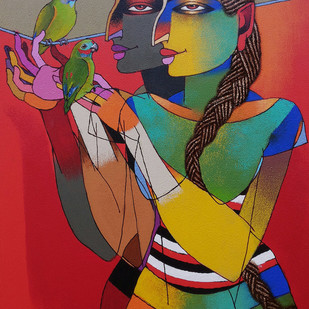 Playing with Love Birds by Dayanand Kamakar, Decorative, Decorative Painting, Oil & Acrylic on Canvas, Brown color