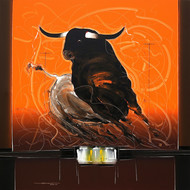 Bull - 59 by Sujith Kumar GS Mandya, Impressionism, Impressionism Painting, Oil on Canvas, Brown color