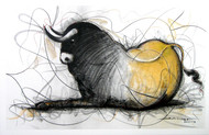 Bull Drawing - 122 by Sujith Kumar GS Mandya, Illustration, Illustration Drawing, Charcoal on Canvas, Gray color