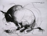 Bull Drawing - 87 by Sujith Kumar GS Mandya, Drawing, Charcoal on Paper, Gray color