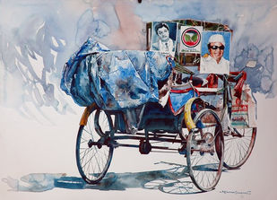 Rickshaw Series 27 by Rajkumar Sthabathy, Realism, Realism Painting, Watercolor on Paper, Gray color
