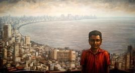 Mumbai by Paramesh Paul, Painting, Acrylic on Canvas, Brown color