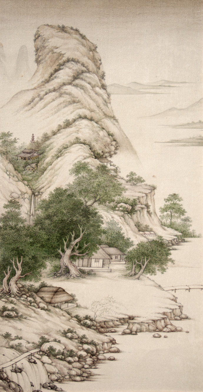 Landscape 3 by Mahaveer Swami, Realism Painting, Watercolor Wash on Silk, Beige color