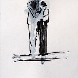 Drawing 2 by Tirthankar Biswas, Drawing, Ink on Paper, Gray color