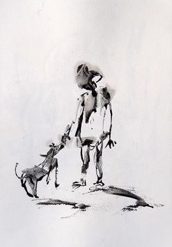 Drawing 6 by Tirthankar Biswas, Painting, Ink on Paper, Gray color