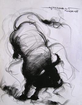 Bull Drawing - 86 Artwork By Sujith Kumar GS Mandya