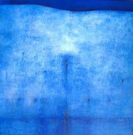 Untitled 2 by Dibakar Karmakar, Abstract, Abstract Painting, Acrylic on Canvas, Blue color