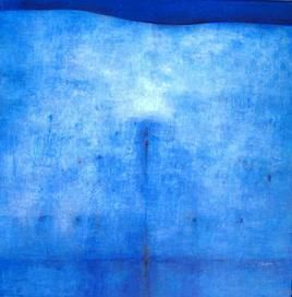Untitled 2 by Dibakar Karmakar, Abstract, Abstract Painting, Acrylic on Canvas, Blue color