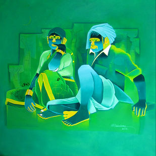 Untitled 446 by Srinivas Tailor, Painting, Acrylic on Canvas, Green color