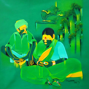 Untitled - 495 by Srinivas Tailor, Painting, Acrylic on Canvas, Green color
