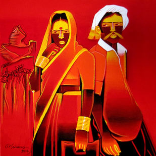 Untitled - 514 by Srinivas Tailor, Painting, Acrylic on Canvas, Red color