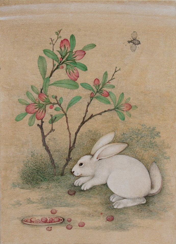 Rabbit 1 by Mahaveer Swami, Realism Painting, Watercolor Wash on Silk, Beige color