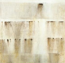 Untitled 5 by Dibakar Karmakar, Abstract, Abstract Painting, Acrylic on Canvas, Beige color