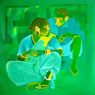Untitled-435 by Srinivas Tailor, Painting, Acrylic on Canvas, Green color