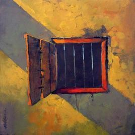 Window by Sachin Akalekar, Painting, Acrylic on Canvas, Brown color