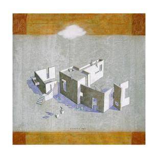 House of Gods 05 by Deepak Nag Ji Mer, Surrealism, Surrealism Painting, Mixed Media on Canvas, Gray color