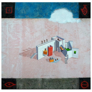House of Gods 04 by Deepak Nag Ji Mer, Surrealism, Surrealism Painting, Mixed Media on Canvas, Gray color