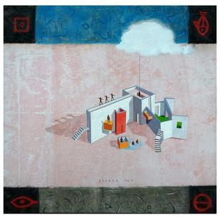 House of Gods 04 by Deepak Nag Ji Mer, Surrealism, Surrealism Painting, Mixed Media on Canvas, Gray color