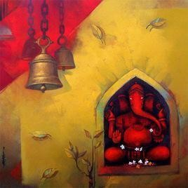 Lord Ganesha by Sachin Akalekar, Conceptual, Conceptual Painting, Acrylic on Canvas, Brown color