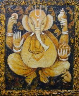 GANESHA-I by Anirban Seth, , , Brown color