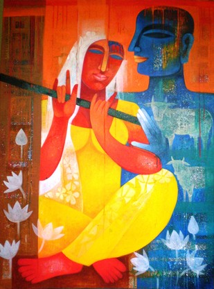 Colour of Love 9 by Chaitali Mukherjee, Expressionism, Expressionism Painting, Acrylic on Canvas, Brown color