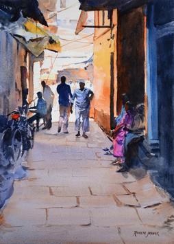 LanesofVaranasi III by Ramesh Jhawar, , , Brown color