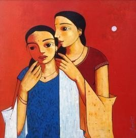 Gossip 1 by Ganesh Patil, Decorative, Decorative Painting, Acrylic on Canvas, Red color