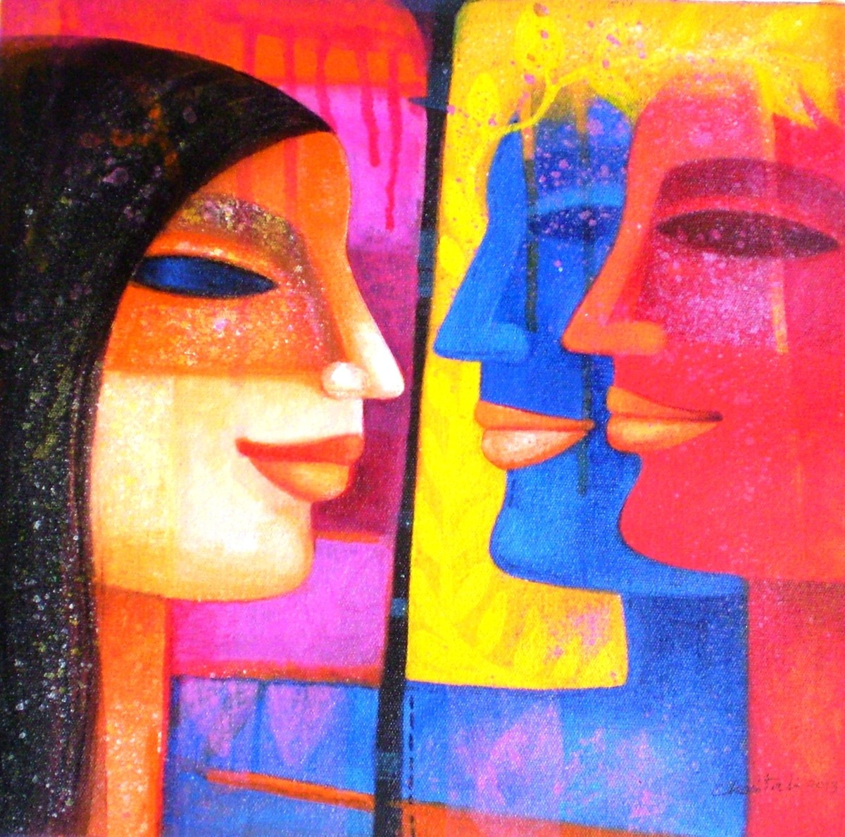 Colour of Love 2 by Chaitali Mukherjee, Expressionism, Expressionism Painting, Acrylic on Canvas, Blue color