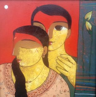 Moon 1 by Ganesh Patil, Decorative, Decorative Painting, Acrylic on Canvas, Brown color