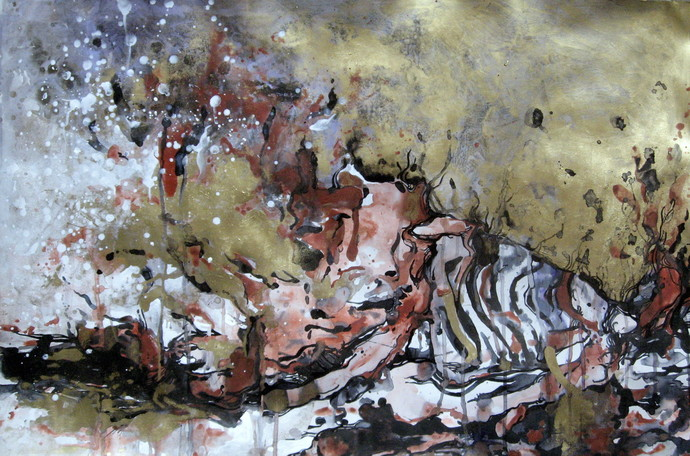 Torso - 1 by Abhijit Pawaskar, Abstract, Abstract Painting, Mixed Media on Paper, Brown color