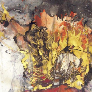 Skull 1 by Abhijit Pawaskar, Abstract, Abstract Painting, Mixed Media on Paper, Brown color