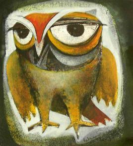 OwlII by Ratna Bose, , , Beige color
