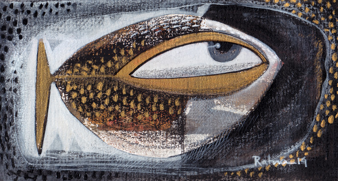 Fish I by Ratna Bose, Decorative, Decorative Painting, Acrylic on Board, Gray color