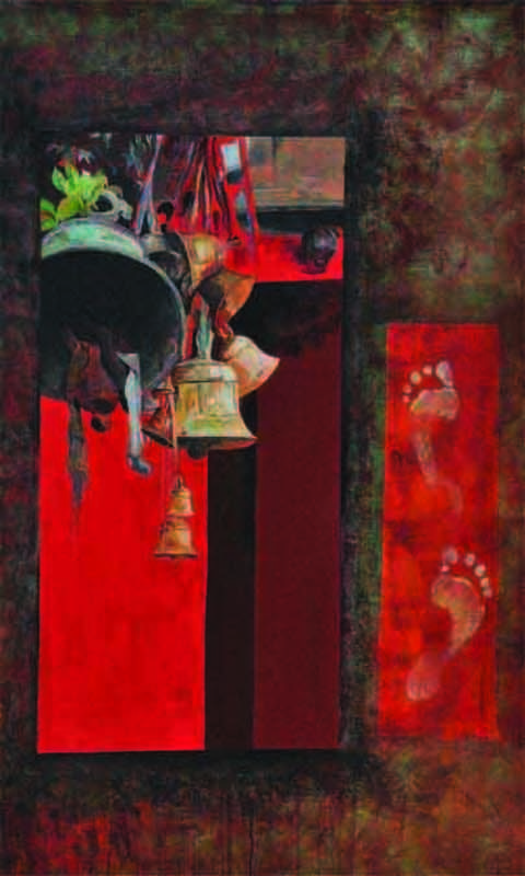 Faith3 by Prasoon Poddar, Decorative, Decorative Painting, Acrylic on Canvas, Brown color