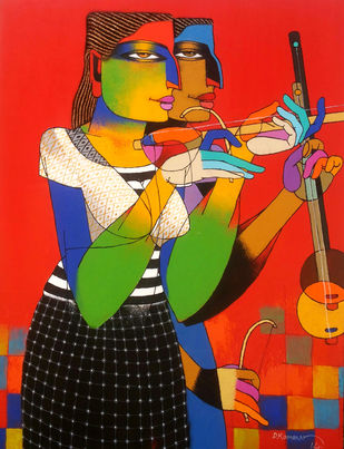 Violin Sallers 51 by Dayanand Kamakar, Decorative, Decorative Painting, Oil & Acrylic on Canvas, Red color