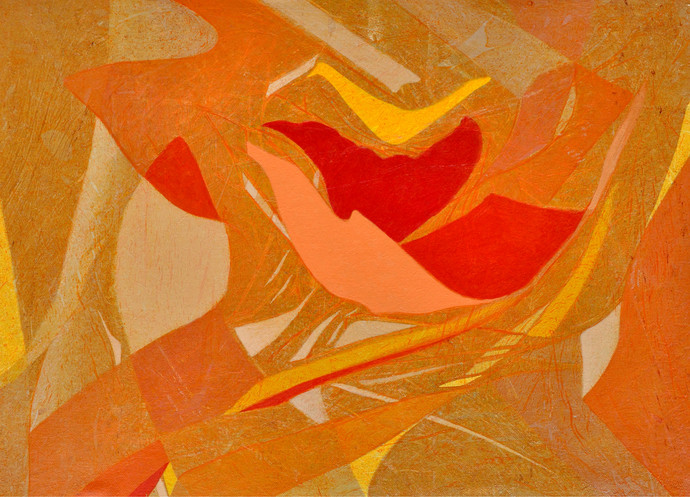 Nature II by Anand Prakash, Abstract, Abstract Painting, Acrylic on Canvas, Orange color
